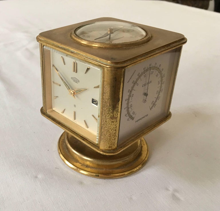 Swiss Art Deco Brass Angelus Meteo Desk Clock Weather Station For 2