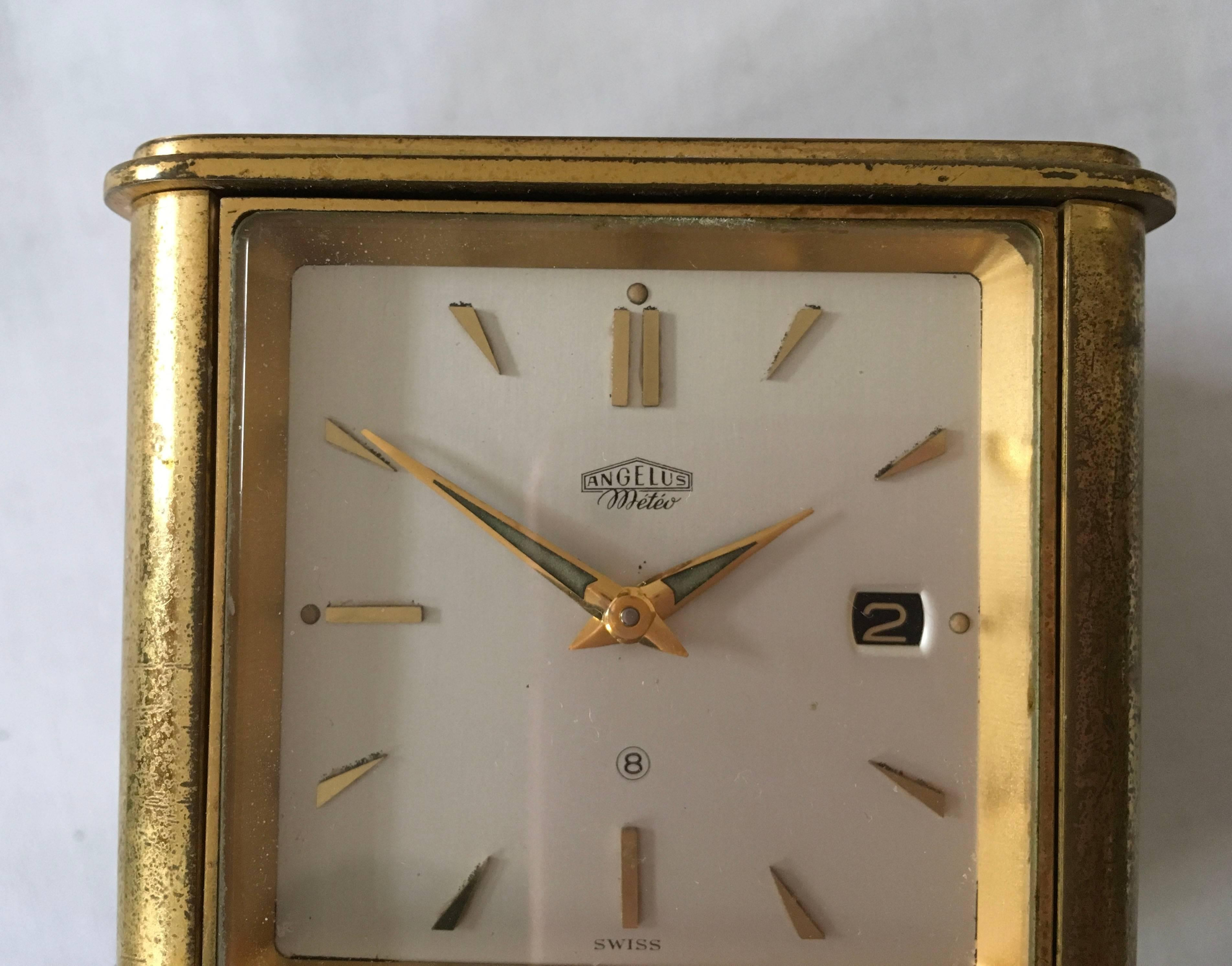 Swiss Art Deco Brass Angelus Meteo Desk Clock Weather Station For At 1stdibs