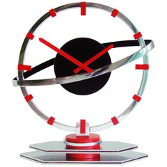 Swiss Art Deco Chrome, Red and Black Enamel Mechanical Saturn Clock by Movado
