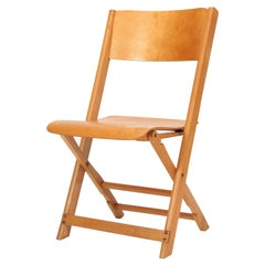 Swiss Midcentury Modern Birchwood Folding Chair, Wohnbedarf 1940s, Light Brown