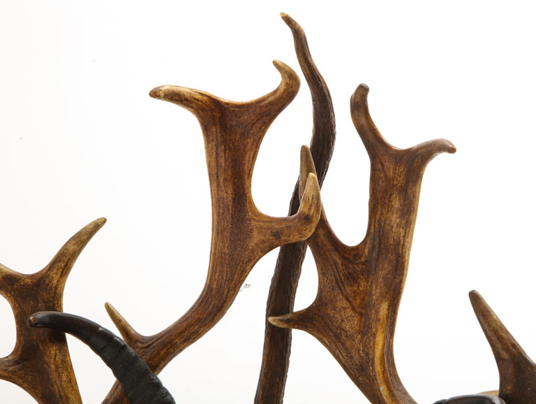 Swiss 'Black Forest' Antler and Boar Tusk-Mounted Mirror, Early 20th Century For Sale 11