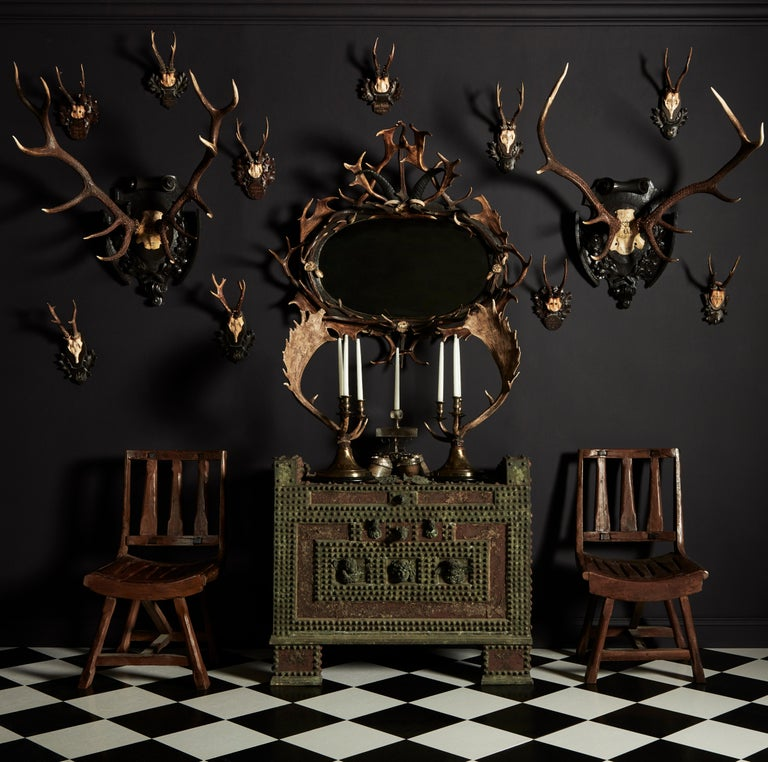 Swiss 'Black Forest' Antler and Boar Tusk-Mounted Mirror, Early 20th Century For Sale 1
