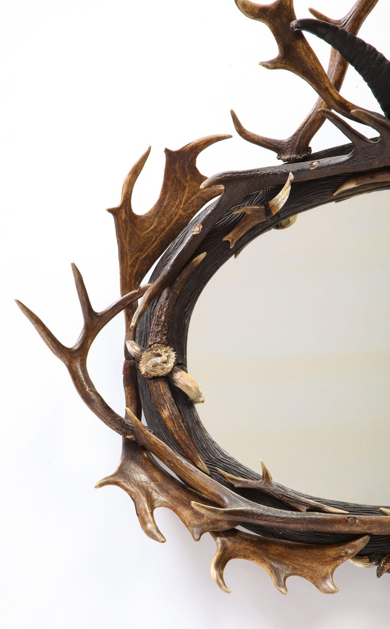 Swiss 'Black Forest' Antler and Boar Tusk-Mounted Mirror, Early 20th Century For Sale 3
