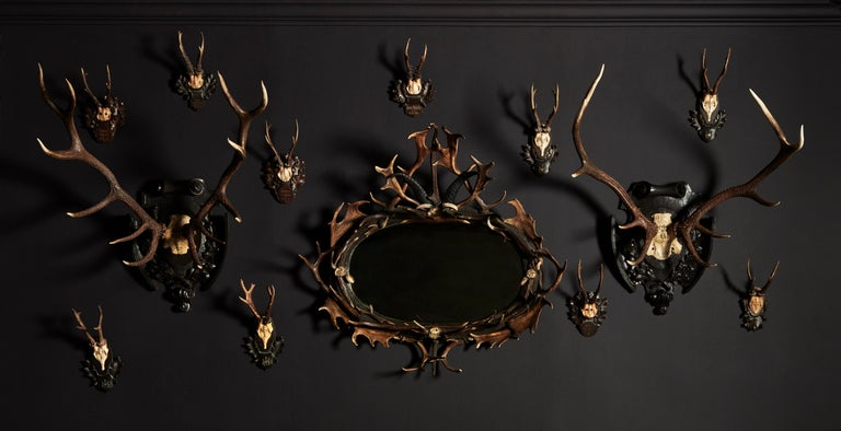 Swiss 'Black Forest' Antler and Boar Tusk-Mounted Mirror, Early 20th Century For Sale 2