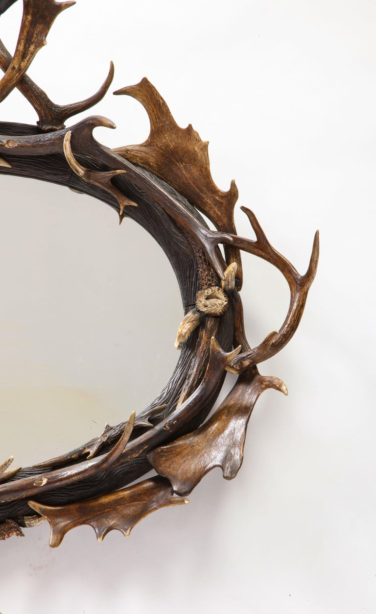 Swiss 'Black Forest' Antler and Boar Tusk-Mounted Mirror, Early 20th Century For Sale 5