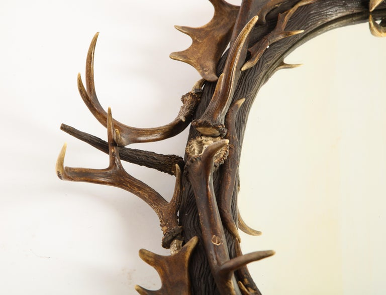 Swiss 'Black Forest' Antler and Boar Tusk-Mounted Mirror, Early 20th Century For Sale 6