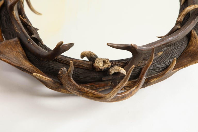Swiss 'Black Forest' Antler and Boar Tusk-Mounted Mirror, Early 20th Century For Sale 7