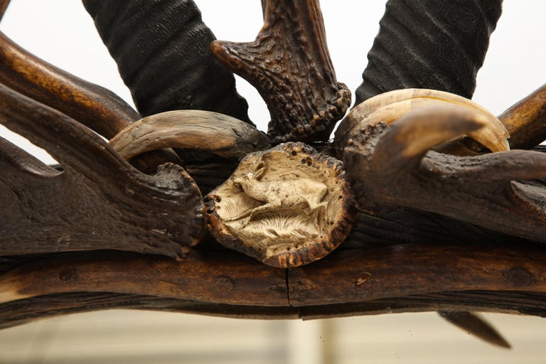 Swiss 'Black Forest' Antler and Boar Tusk-Mounted Mirror, Early 20th Century For Sale 9
