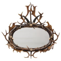 Swiss 'Black Forest' Antler and Boar Tusk-Mounted Mirror, Early 20th Century