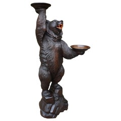 Swiss Black Forest Brienz Carved Bear Sculpture Serving Table / Display Stand