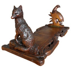 Swiss Black Forest Nutwood Book Stand Fox and Partridge Sculptures / Carvings