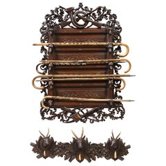Swiss 'Black Forest' Wall-Mounted Stick Stand, Mid-20th Century