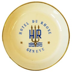 Swiss Blue and Gold Porcelain Jewelry Dish