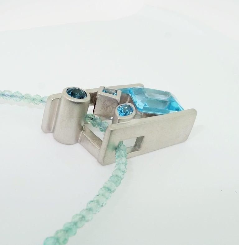 Women's Swiss Blue London Blue Sky Blue Topaz and Apatite Necklace Fine Estate Jewelry For Sale