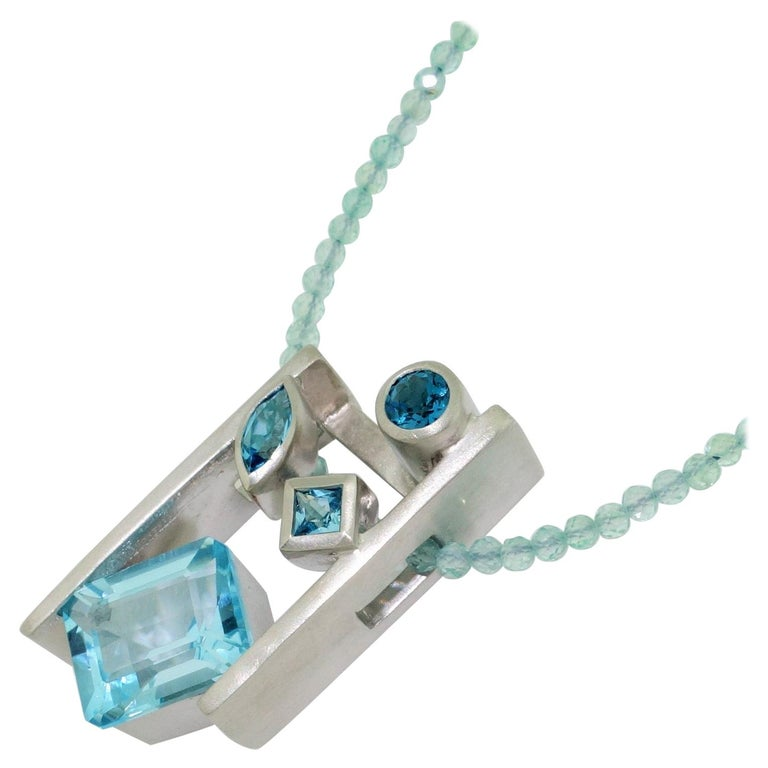 Swiss Blue London Blue Sky Blue Topaz and Apatite Necklace Fine Estate Jewelry For Sale