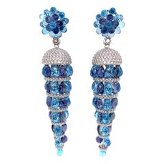 Swiss Blue Topaz and Iolite Earring in 18 Karat White Gold with Diamonds