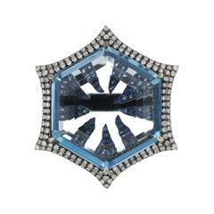 Swiss Blue Topaz, Blue Sapphire and Diamond Studded Ring in 14 Karat White Gold