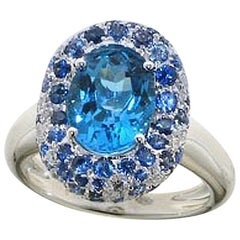 Swiss Blue Topaz Blue Sapphire Diamond 18 Karat White Gold Cocktail Ring