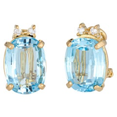 Swiss Blue Topaz Diamond Earrings Clip-On Vintage 18 Karat Gold Oval Studs
