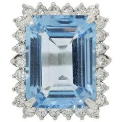 Swiss Blue Topaz Diamond Halo Platinum Cocktail Ring