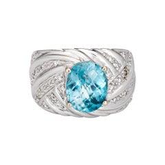 Swiss Blue Topaz Diamond Ring 14k White Gold Cigar Band Estate Vintage