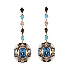 Swiss Blue Topaz & Multi Stone Studded Enamel Earrings in 14 Karat Gold
