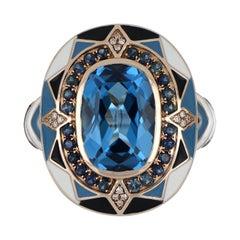 Swiss Blue Topaz & Sapphire Studded Enamel Ring in 14k Gold