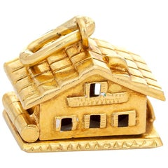Swiss Chalet Charm Opens Vintage 18 Karat Gold House Pendant Jewelry Movable
