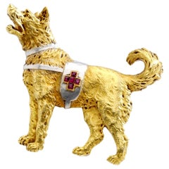 Swiss Cross Rescue Dog Ruby Gold and Platinum Brooch