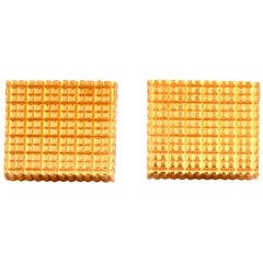 Swiss Cube 18 Karat Yellow Gold Men's Cufflinks