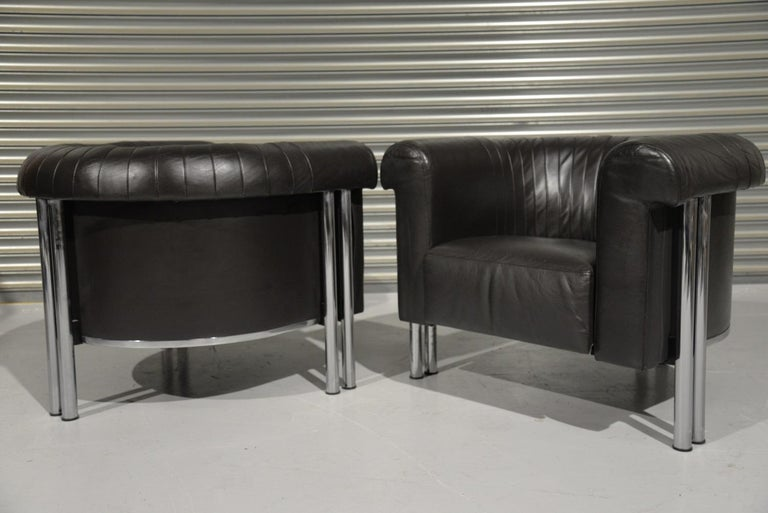 Leather De Sede Executive Lounge Armchairs, Switzerland 1980s For Sale