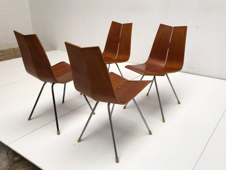 Mid-Century Modern Swiss Design Set of 4 Hans Bellmann 'GA' Dining Chairs for Horgen Glarus 1955 For Sale