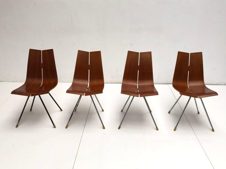 Plated Swiss Design Set of 4 Hans Bellmann 'GA' Dining Chairs for Horgen Glarus 1955 For Sale