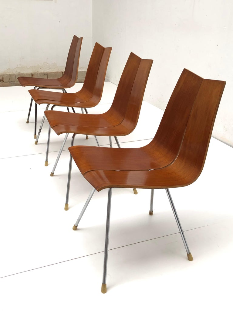 Mid-20th Century Swiss Design Set of 4 Hans Bellmann 'GA' Dining Chairs for Horgen Glarus 1955 For Sale