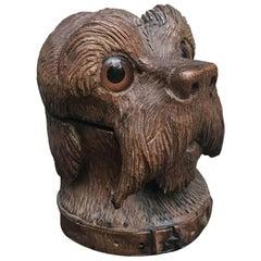 Swiss Dog Head Inkwell Carved Walnut Black Forest Schnauzer 1880 circa