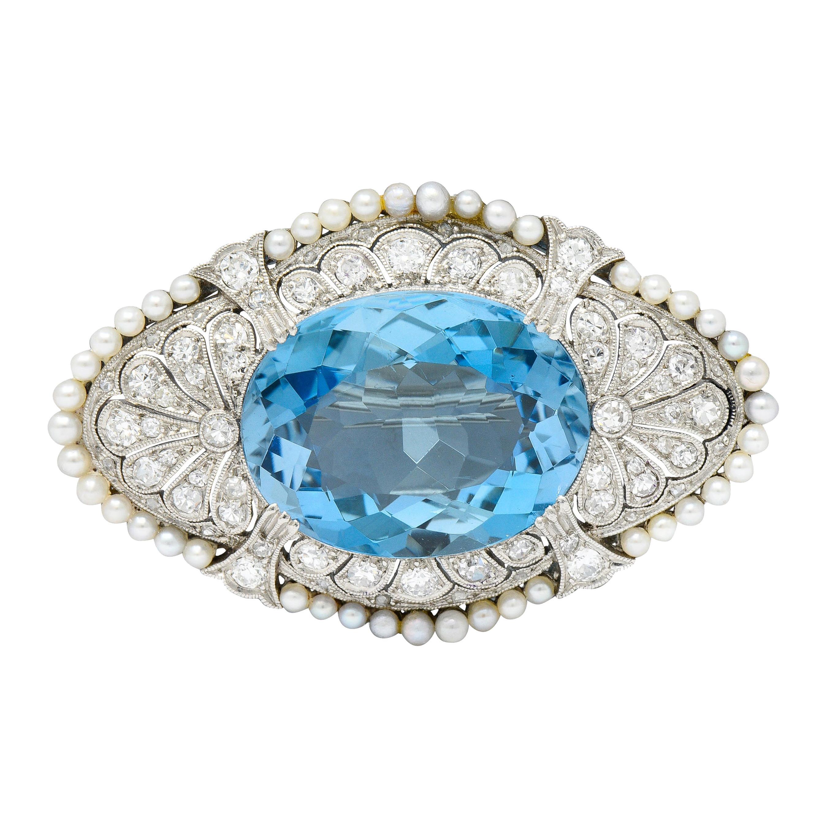 Swiss Edwardian 15.55 Carats Aquamarine Diamond Pearl Platinum Brooch