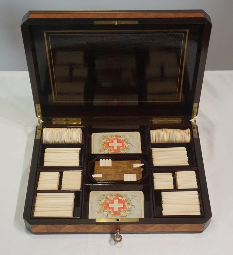 Swiss Exotic Wood, Nacre and Brass Card Games Box, Complete, circa 1890 In Good Condition For Sale In Kinderhook, NY