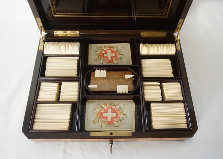 19th Century Swiss Exotic Wood, Nacre and Brass Card Games Box, Complete, circa 1890 For Sale