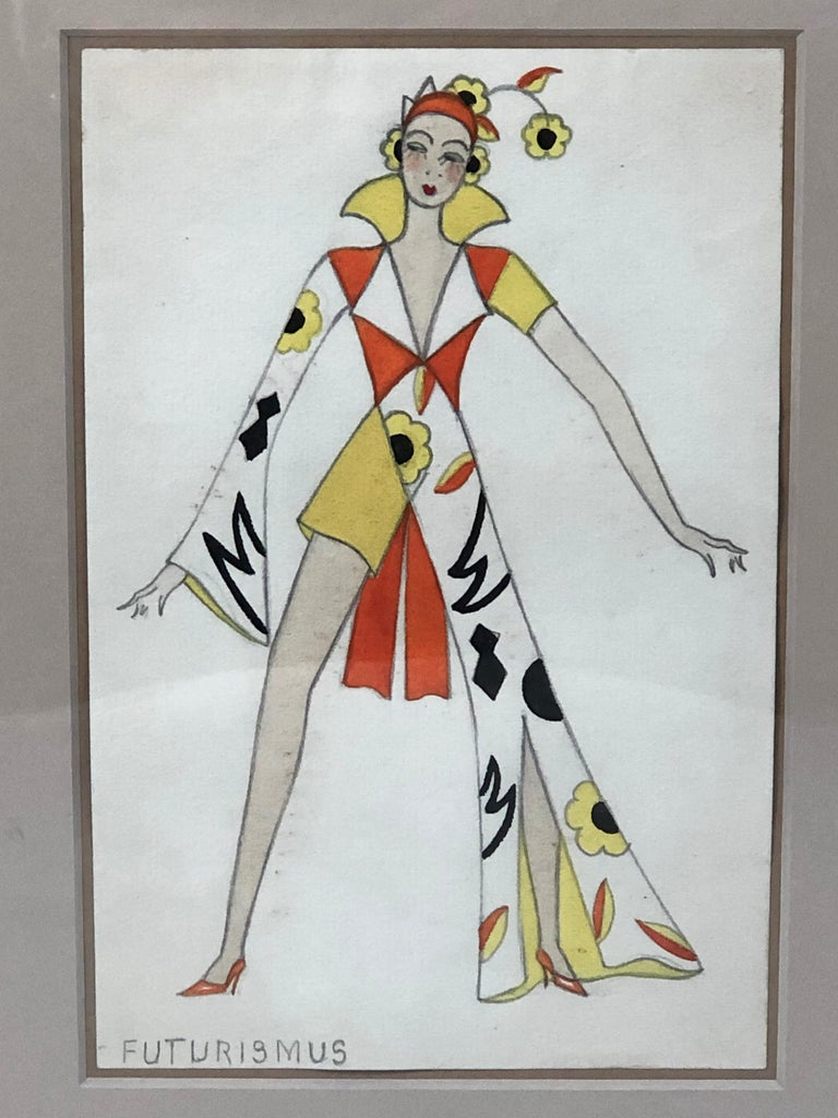 A brightly colored gouache and pencil drawing of a woman in asymmetrical Futurist clothing with the caption, written all in capital letters in pencil, Futurismus (futurism in German,) inscribed in the lower left hand corner. With her arms and legs