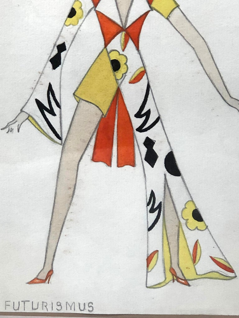 Swiss Fashion Drawing of a Woman in Futurist Clothing, circa 1920s In Good Condition For Sale In Essex, MA