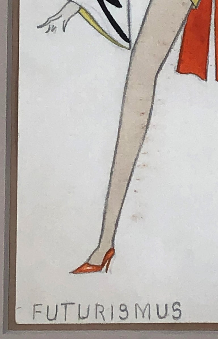 Paint Swiss Fashion Drawing of a Woman in Futurist Clothing, circa 1920s For Sale