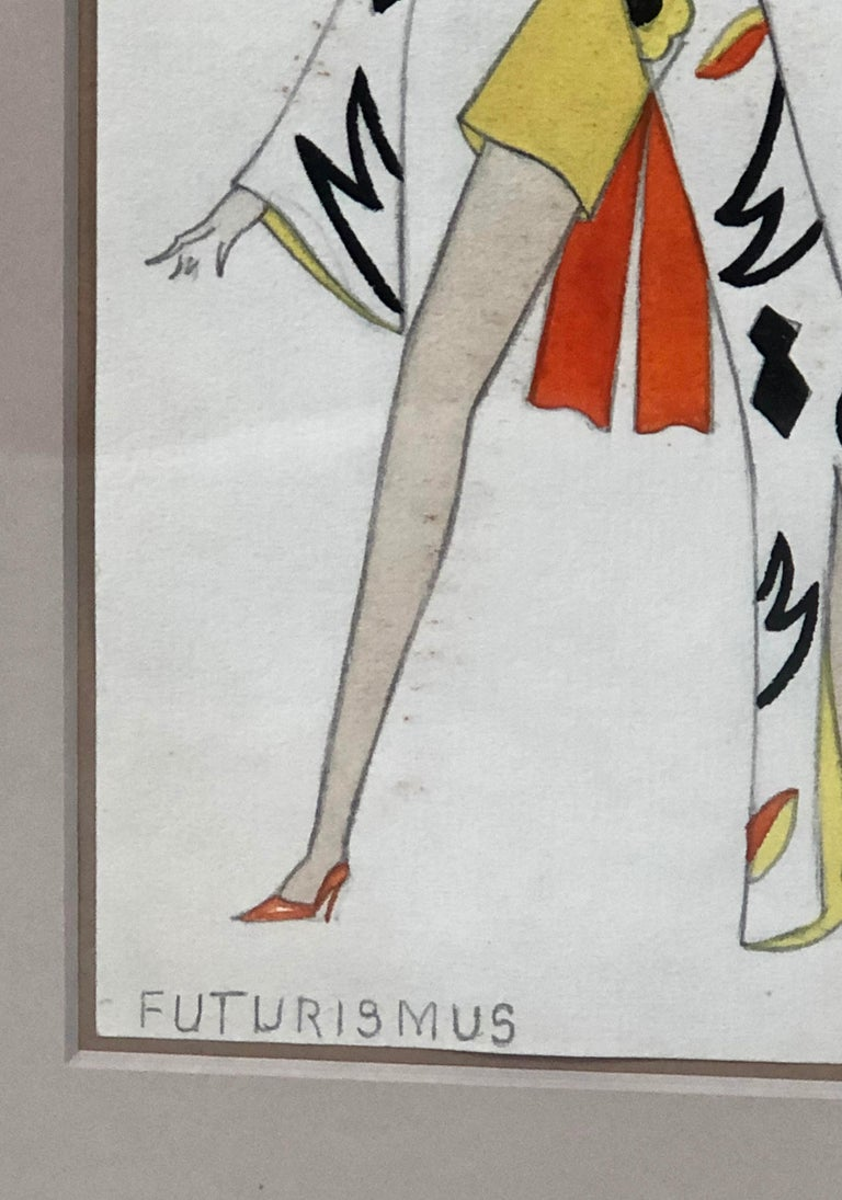 Swiss Fashion Drawing of a Woman in Futurist Clothing, circa 1920s For Sale 3