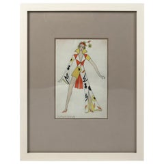 Swiss Fashion Drawing of a Woman in Futurist Clothing, circa 1920s