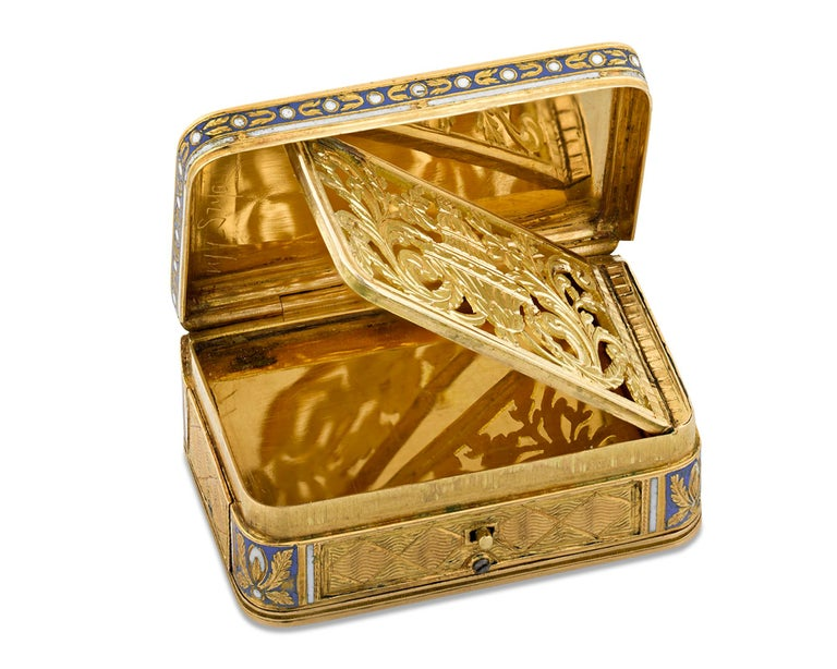 Neoclassical Swiss Gold and Enamel Musical Vinaigrette For Sale