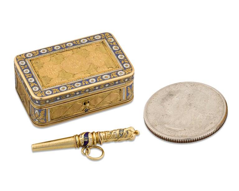 Enameled Swiss Gold and Enamel Musical Vinaigrette For Sale