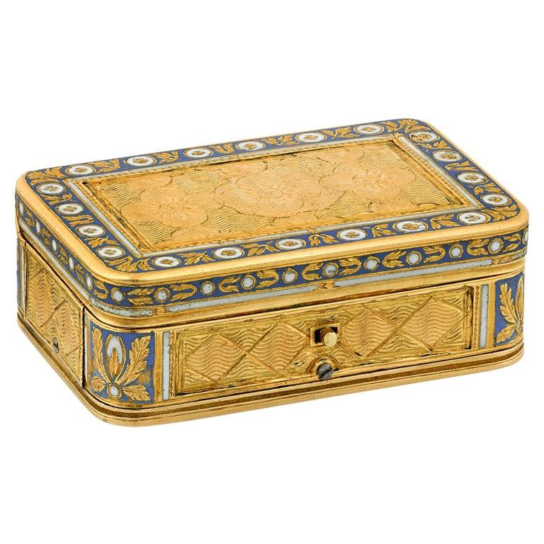 Swiss Gold and Enamel Musical Vinaigrette For Sale