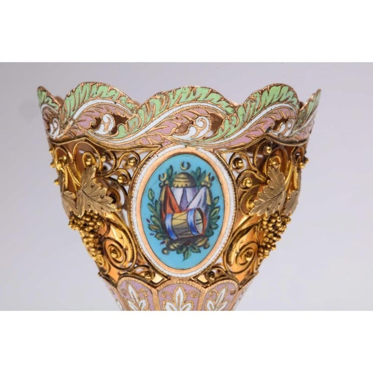 Swiss Gold and Enamel Zarf for the Turkish Market, circa 1840 For Sale 6