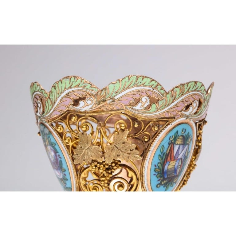 Swiss Gold and Enamel Zarf for the Turkish Market, circa 1840 For Sale 7