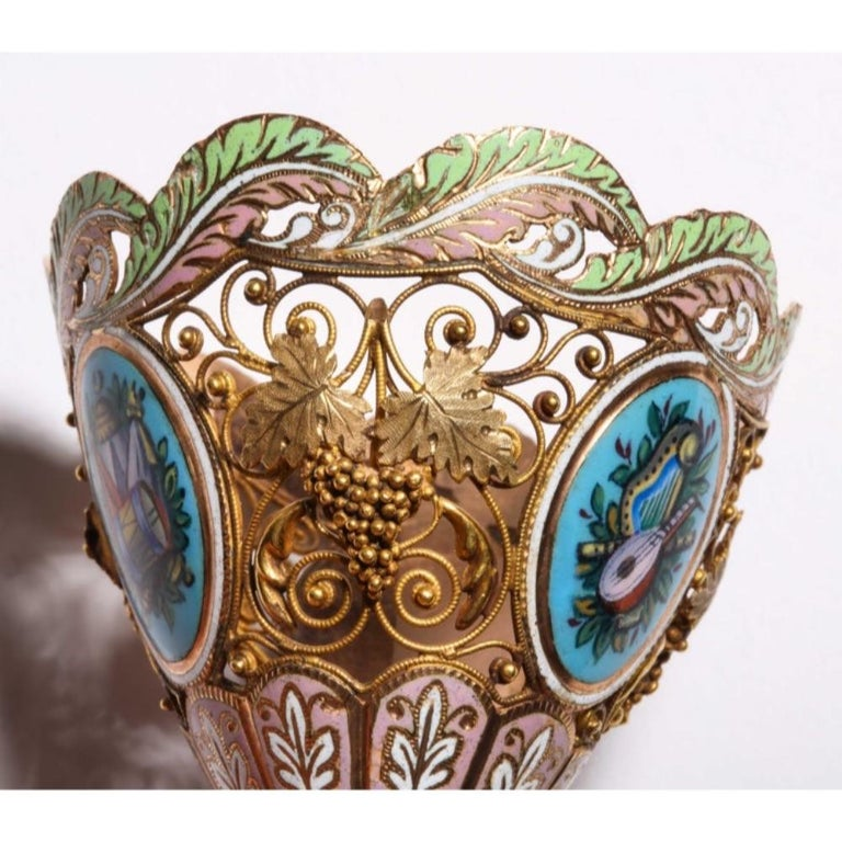 Swiss Gold and Enamel Zarf for the Turkish Market, circa 1840 For Sale 11