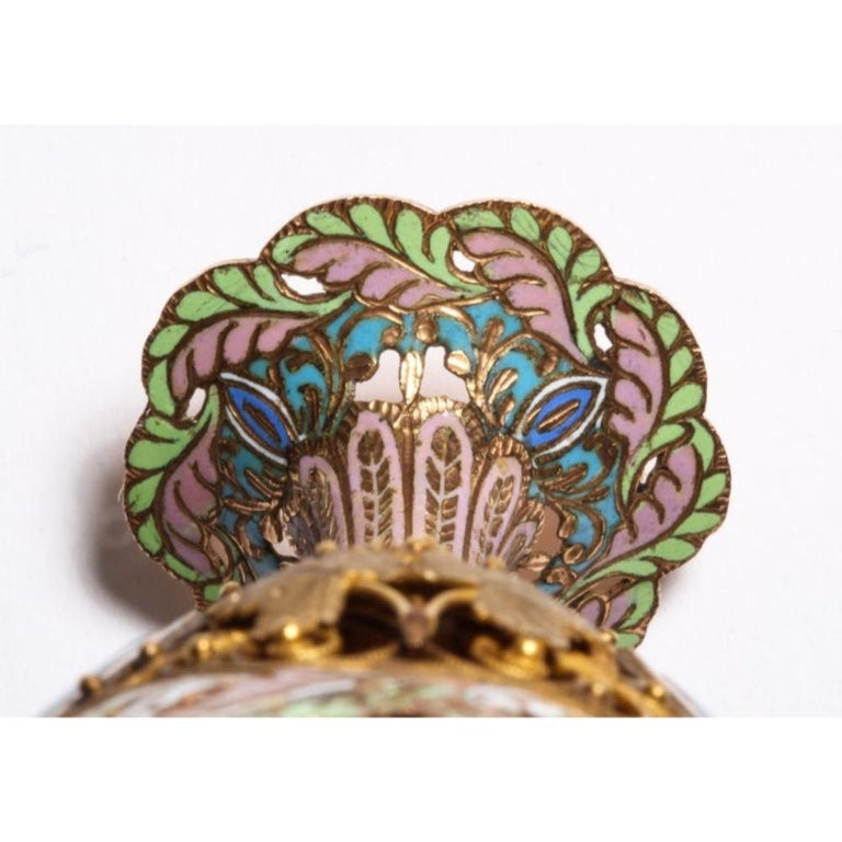 Swiss Gold and Enamel Zarf for the Turkish Market, circa 1840 For Sale 12